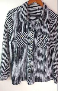 Kim Rogers Black White Rough Stripe Top XL Plus